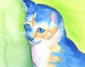 kitten art / cat paintng / calico kitty / blue / big paws / reproduction / 8 x 10 inches / P139