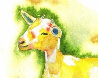 Goat art painting print / yellow goat art / farm animal / decor / nursery / 8 x 10 / P122