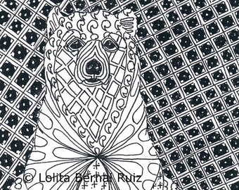 Zentangle art / Bear drawing / ink illustration / doodle / wild animal / grizzly / reproduction / black and white / 8 x 10 / P108
