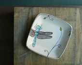 SALE ceramic blue dragonfly square tray, gift for mom, for the gardener, for her, co worker, hostess, stocking stuffer