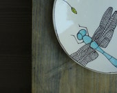 Small ceramic blue dragonfly plate, dragonfly insect dessert plate