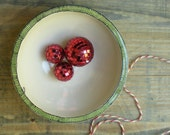 SALE ceramic green bowl, holiday christmas green and white candy dish