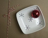 white snowflake tray / trivet candy dish, holiday tray gift for hostess, co worker, for her gift under 25