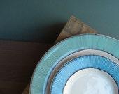 Two ceramic blue stripe plates, two nesting summer blue plate set home decor, nautical blue wedding spring garden gift
