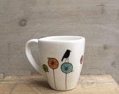 Bird ceramic coffee cup mug, gift for the bird lover, spring garden gift for mother's day