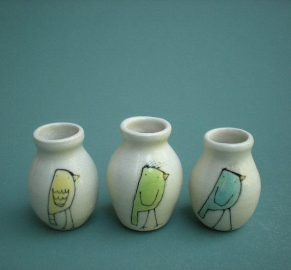 three bird vases