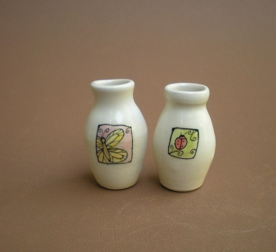 butterfly and ladybug vases