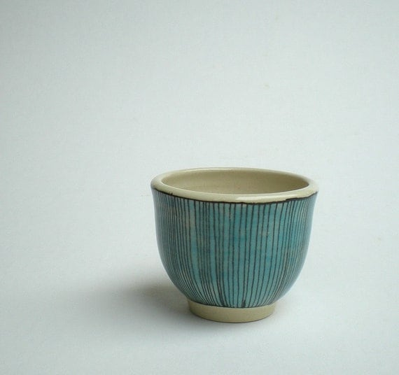 SALE small cup with light blue stripes / hand painted