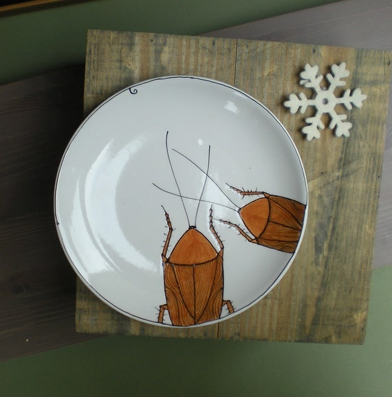Cockroach insect salad plate, quirky funny valentine's gift for him, entomologist gift under 25