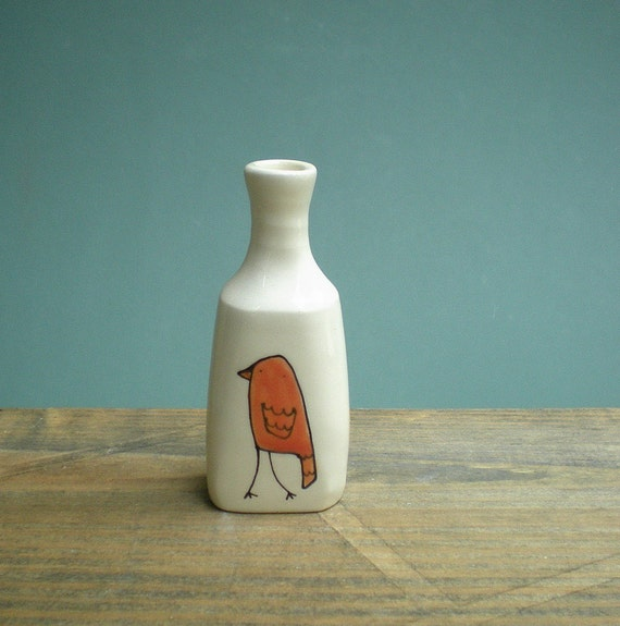 READY TO SHIP orange bird vase, gift for her, stocking stuffer