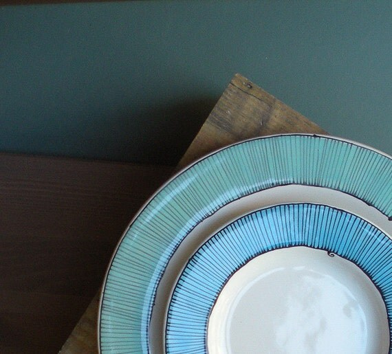 Two ceramic blue stripe plates, two nesting summer blue plate set home decor, nautical blue wedding spring garden gift