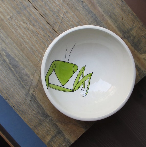 small praying mantis bowl, ceramic insect ice cream bowl, hand drawn white and green bowl gift under 25