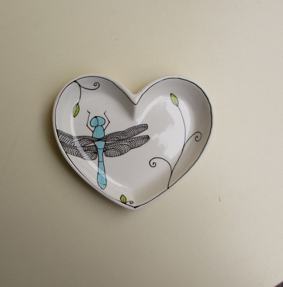 SALE //  Blue dragonfly dish, small ceramic heart shape plate, pastel blue and white dragonfly by catherinereece