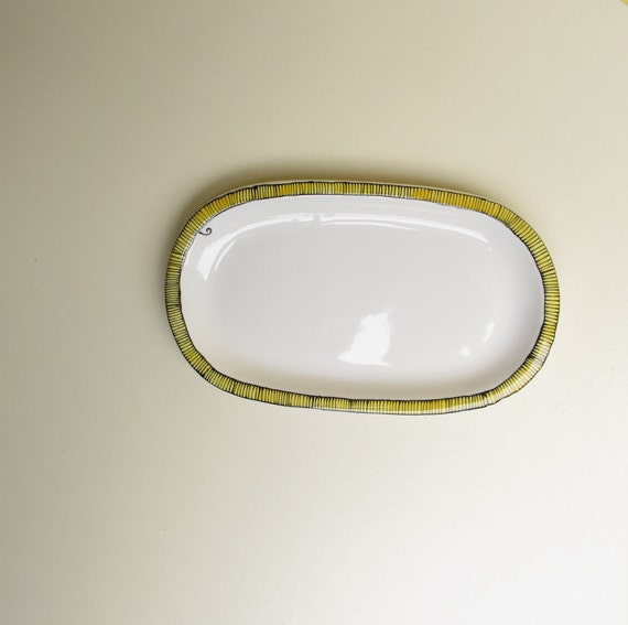 Ceramic lemon yellow stripe soap dish, candy dish, spoon rest, unisex gift for graduation