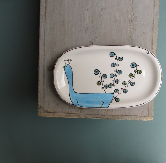 Ceramic blue peacock tray for her, spoon rest, olive or nut dish, spring gift for the gardener, mom