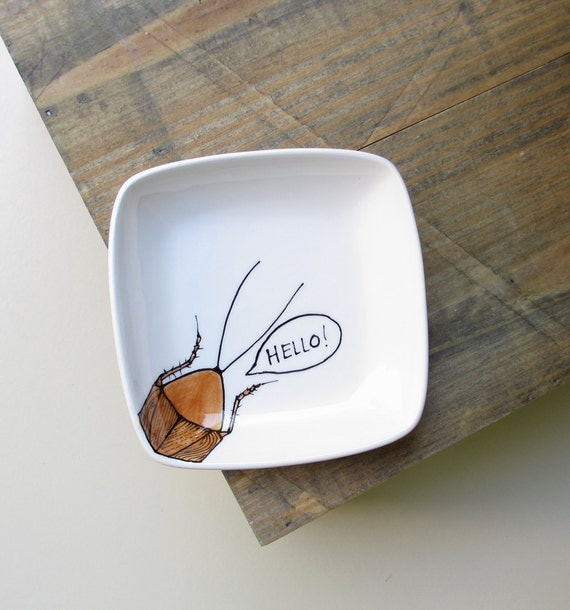 Ceramic cockroach Hello square tray, brown and white gag gift insect dish,  gift for him