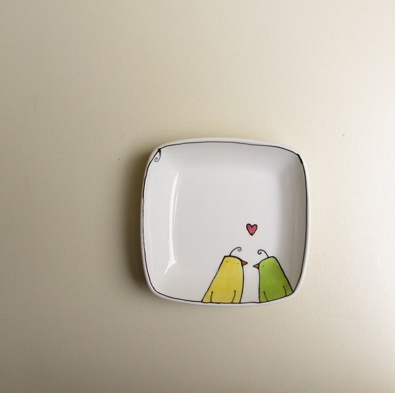Ceramic yellow and green love birds square dish / tray, spring garden bride and groom engagement, anniversary gift under 25