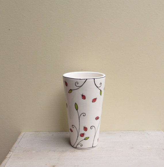 Ceramic ladybug insect cup, spring garden vase for her