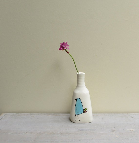 Ceramic blue bird bud vase, spring garden gift for her, Mother's day gift