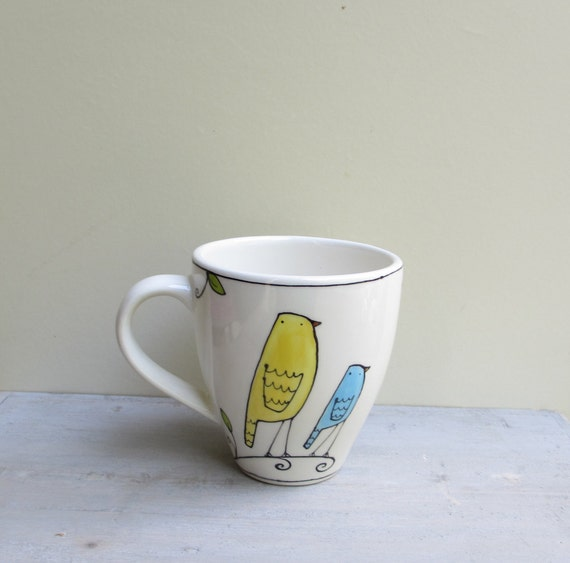 Ceramic yellow and blue bird coffee cup mug, gift for co worker, hostess gift
