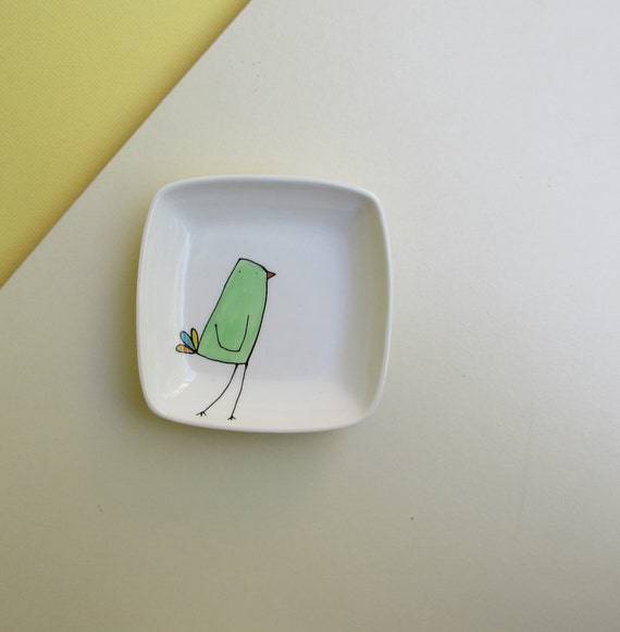 Ceramic green and white bird square dish / tray, for her