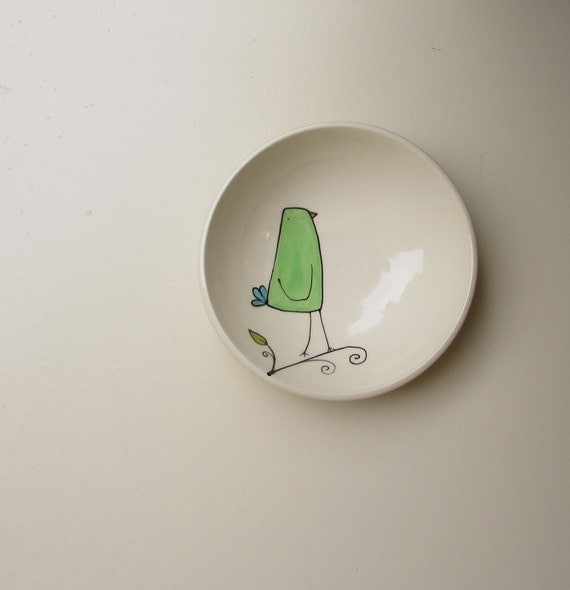 Green bird ceramic bowl, summer cabin home decor