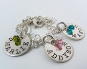 Two Sided Personalized Sterling Silver Charm Bracelet with Crystals - name on front, birthdate on back