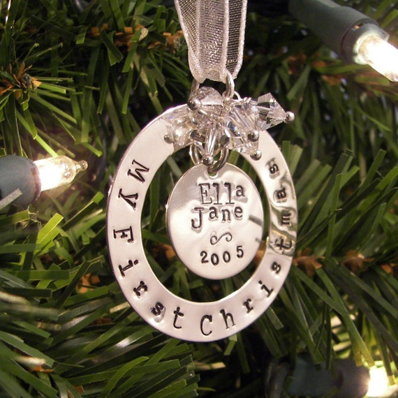 My First Christmas hand stamped and personalized sterling silver ornament