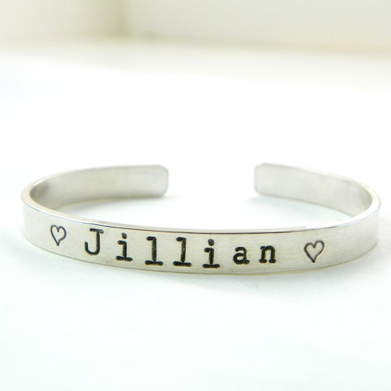 My Sweet Girl hand stamped and personalized sterling silver double sided cuff bracelet - serif font