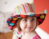 Polka Dot Sunhat for Baby Girls, Wide Brimmed Sun Hat, Beach Wear, with Kitties