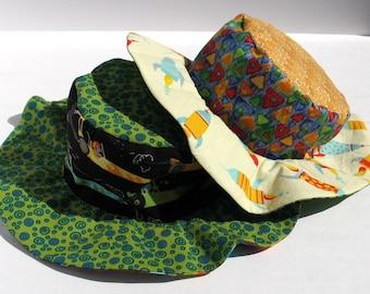 SALE - Baby Boys Cotton Sun Hat, Beach Wear, Wide Brim, Reversible