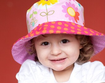 Bucket Sun Hat for Girls, Owls and Flowers, Pink Polka Dots