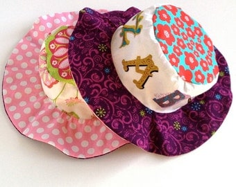 Toddler sun hat with wide brim, for girls, with pink and purple