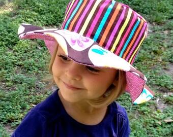 Flower sun hat for girls, wide floppy brim, reversible, beach wear, owls