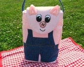 Piggy Wiggy Woo/ Pig in Overalls Lunch Bag