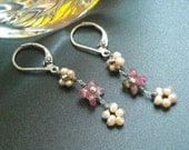 pink tourmaline and pearl earrings