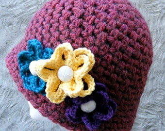 HAT CROCHET PATTERN - Ladies Winter Hat with Flowers - Fast and Easy - Multiple Sizes - Large Hat - Make a Quick Gift for Someone