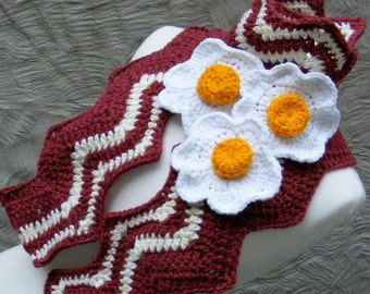 Bacon and Egg Scarf Crochet Pattern - Bacon and Egg Scarf - Very Easy