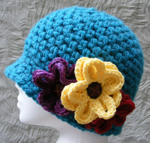 Really Easy Crochet Hat Patterns : Hat Crochet Pattern Ladies Winter Hat with Flower Very