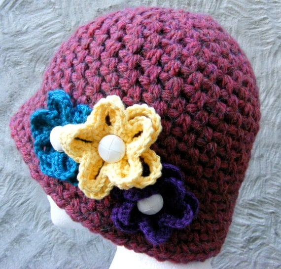 Medium Crochet Flower Pattern : Items similar to Hat Crochet PATTERN - Ladies Winter Hat ...