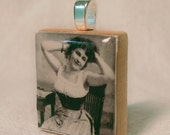Recycled Scrabble Tile Pendant, Glamour Girl