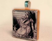 Recycled Scrabble Tile Pendant, Alice and the White Rabbit