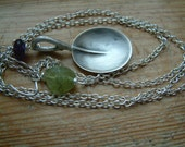Lariat  recycled silver spoon Gemstone necklace