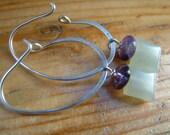 small jade and amethyst oval hoop chandelier earrings