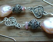 apricot Coin Pearl  frangia coral sweetheart silver earrings