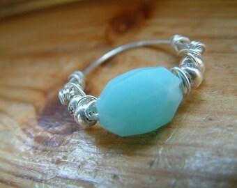 blue opal  thai karen silver hand wrapped ring