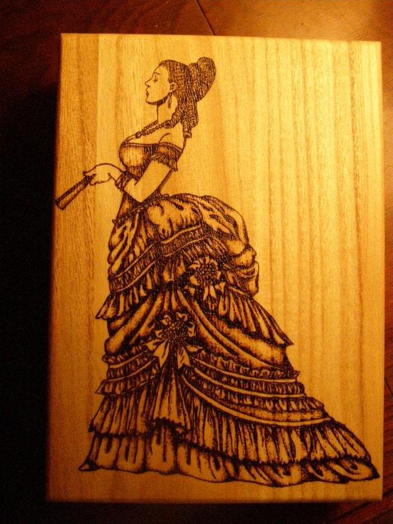 Home Decor---Victorian Bustle Dress Wood Burned Rectangular Box