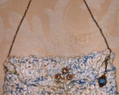 Mary Lou Lord (Organic Cotton Blue and White Bag with Flower Pin)