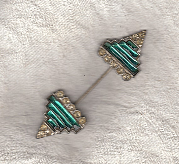 RESERVED 10-19 Deco Pin Collar StickPin HatPin Emerald Green Crystal Antique Jewelry