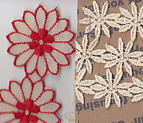 Daisy Flower Lace Trim White Red Vintage Lot